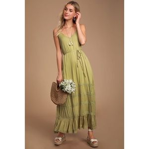 Coulee Washed Olive Green Lace Maxi Size:Large